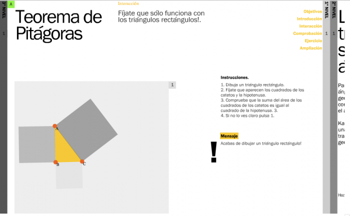 Test: interactive demonstrations on any triangle drawn by the user
