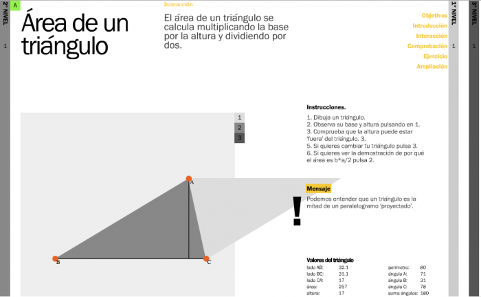 Interaction: dynamic demonstration on any triangle created by the user