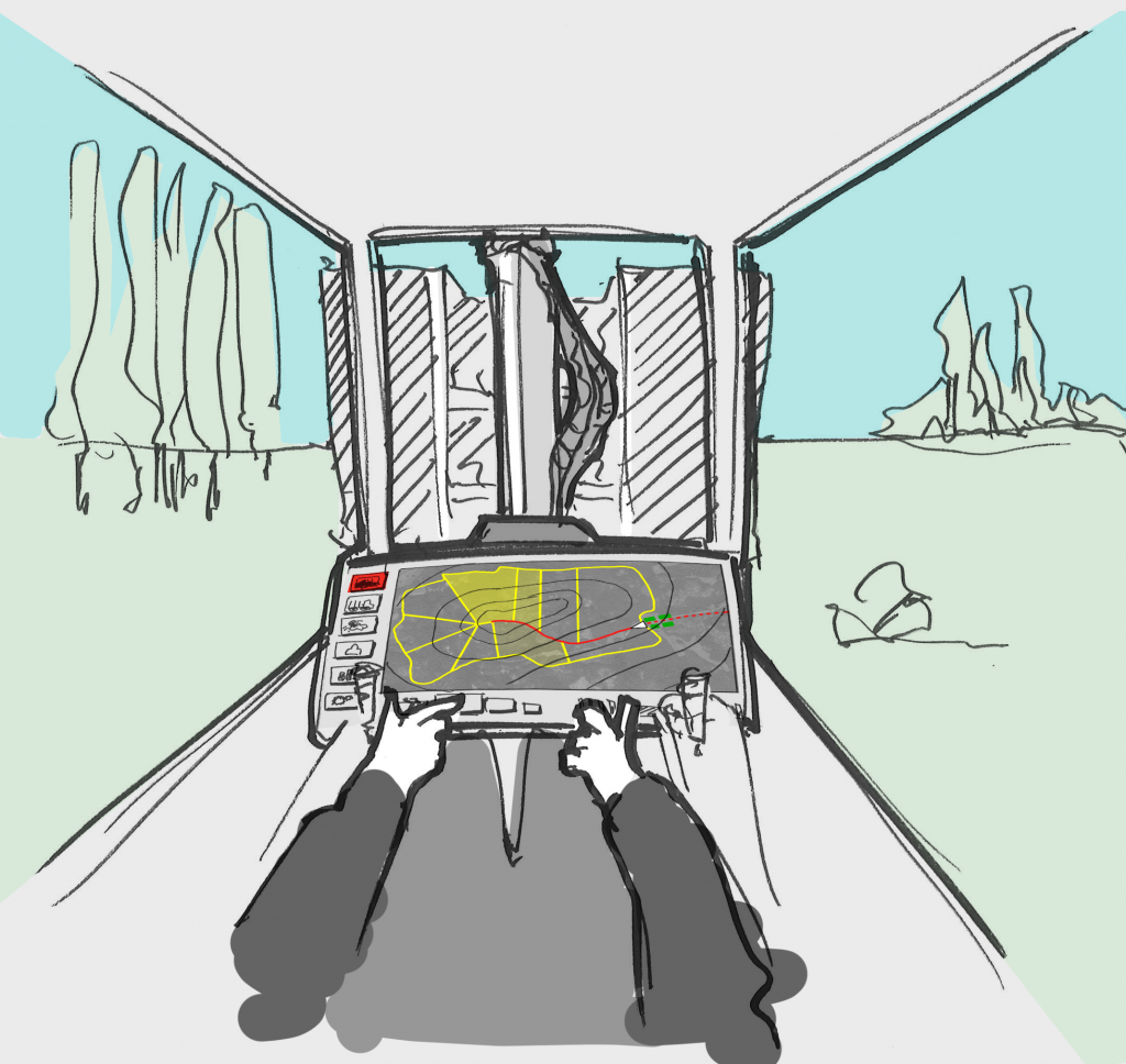 Detail of the storyboard: the driver inside the new forwarder cabin