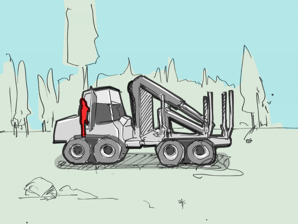 Detail of the storyboard: the forwarder driving to pick up logs