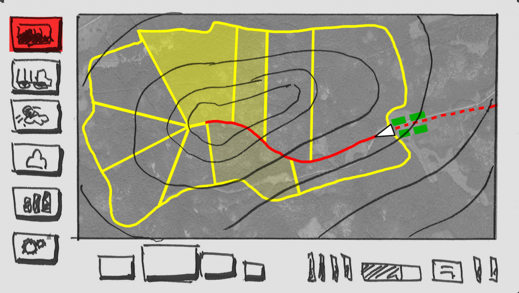 Detail of the storyboard: the screen with the harvested area divided into subareas