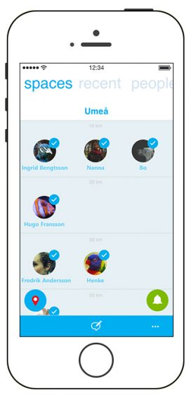 + spaces contacts list ordered by distance to user
