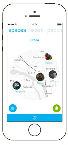 + spaces contacts list located in map